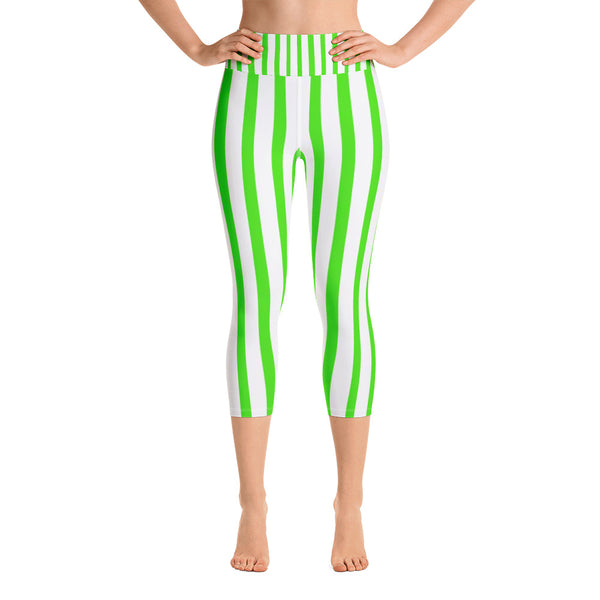 Lime Green White Vertical Striped Print Women's Yoga Capri Pants Leggings-Capri Yoga Pants-XS-Heidi Kimura Art LLC Green Striped Yoga Capri Leggings, Lime Green White Vertical Striped Print Women's Yoga Capri Pants Leggings With Pockets Plus Size Available- Made In USA/EU (US Size: XS-XL)