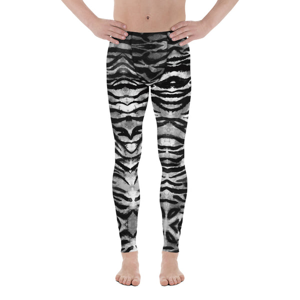 Grey Tiger Stripe Men's Leggings, Animal Print Meggings Compression Tights-Heidi Kimura Art LLC-Heidi Kimura Art LLC