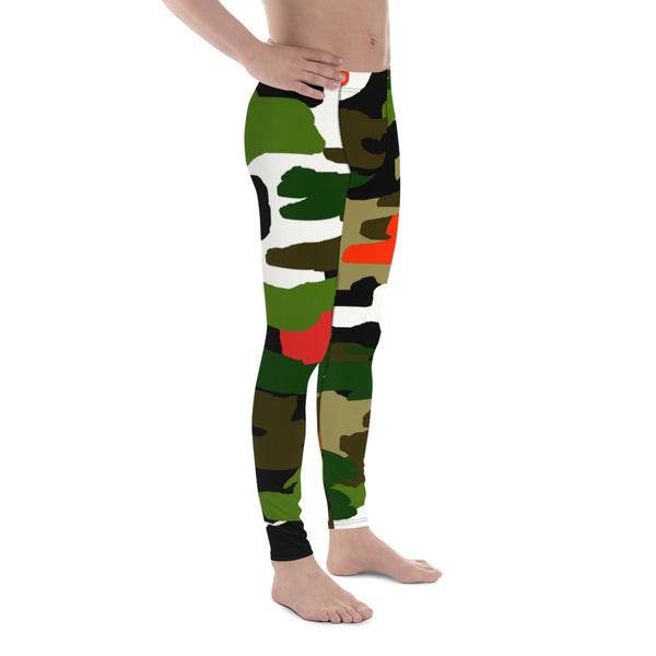 Green Orange Red Camouflage Military Amy Print 38-40 UPF Fashion Men's Leggings-Men's Leggings-Heidi Kimura Art LLC