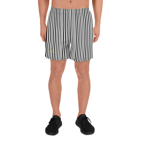 Modern Vertical Stripes Black White Men's Athletic Long Workout Shorts Pants- Made in EU-Men's Long Shorts-XS-Heidi Kimura Art LLC