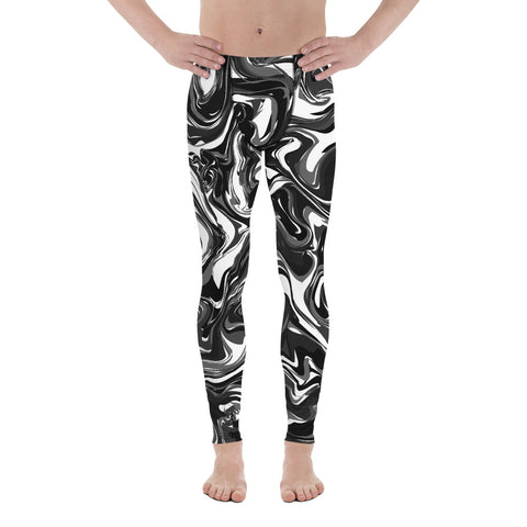 Black White Swirl Men's Leggings, Marble Print Meggings-Made in USA/EU-Heidi Kimura Art LLC-Heidi Kimura Art LLC Black White Swirl Men's Leggings, Marble Print Meggings, Men's Leggings Tights Pants - Made in USA/EU (US Size: XS-3XL)Sexy Meggings Men's Workout Gym Tights Leggings