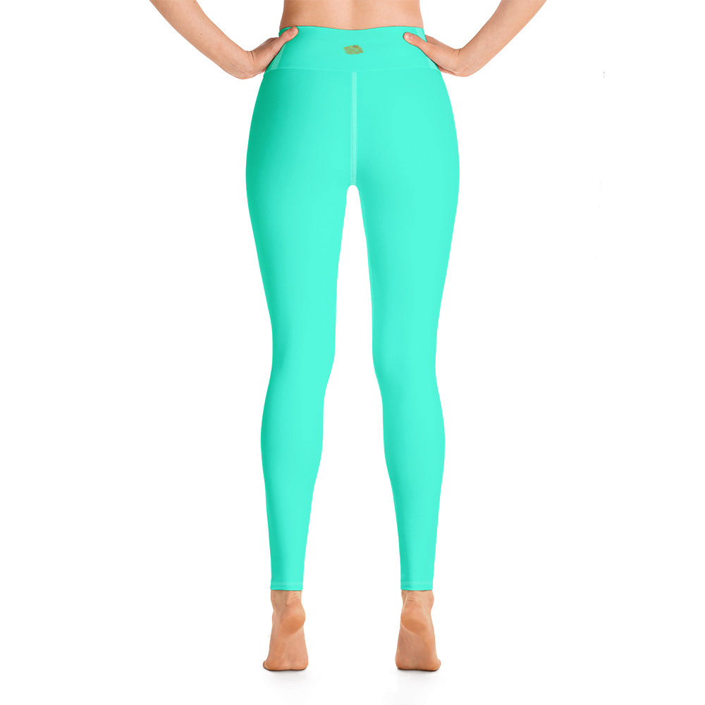 Women's Turquoise Blue Bright Solid Color Yoga Gym Tights, Made in USA - Heidi Kimura Art LLC