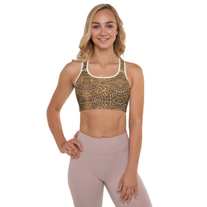 Leopard Padded Sports Bra, Women's Animal Print Fitness Gym Bra-Made in USA/EU-Heidi Kimura Art LLC-White-XS-Heidi Kimura Art LLCLeopard Padded Sports Bra, Brown Cute Wild Premium Quality Animal Print Women's Padded Yoga Gym Workout Sports Bra For Female Athletes - Made in USA/ EU (US Size: XS-2XL)