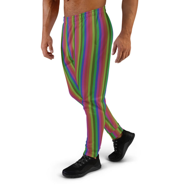Vintage Style Rainbow Stripe Print Designer Men's Joggers Pants Bottoms- Made in EU-Men's Joggers-Heidi Kimura Art LLC