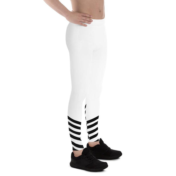 White Black Diagonal Stripe Print Men's Leggings Compression Tights- Made in USA/ EU-Men's Leggings-Heidi Kimura Art LLC