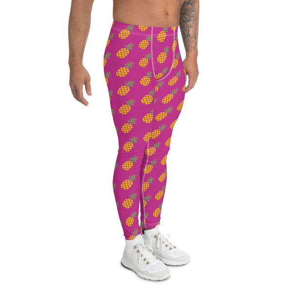 Pink Pineapple Print Men's Leggings, Fun Pineapples Fruits Meggings Tights-Made in USA/EU-Heidikimurart Limited -Heidi Kimura Art LLC