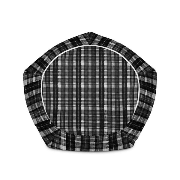 "Black White Plaid Tartan Print Water Resistant Polyester Bean Sofa Bag - Made in Europe-Bean Bag-Heidi Kimura Art LLC Black White Plaid Bean Bag, Black White Plaid Tartan Print Water Resistant Polyester Bean Sofa Bag W: 58""x H: 41"" Chair With Filling Or Bean Bag Cover Without Filling- Made in Europe"