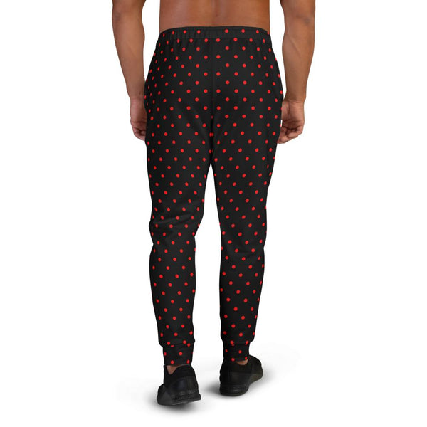 Black Red Classic Polka Dots Print Designer Men's Joggers Fashion Pants- Made in EU-Men's Joggers-Heidi Kimura Art LLC Black Red Dots Men's Joggers, Black Red Classic Polka Dots Print Designer Ultra Soft & Comfortable Men's Joggers, Men's Jogger Pants-Made in EU (US Size: XS-3XL)