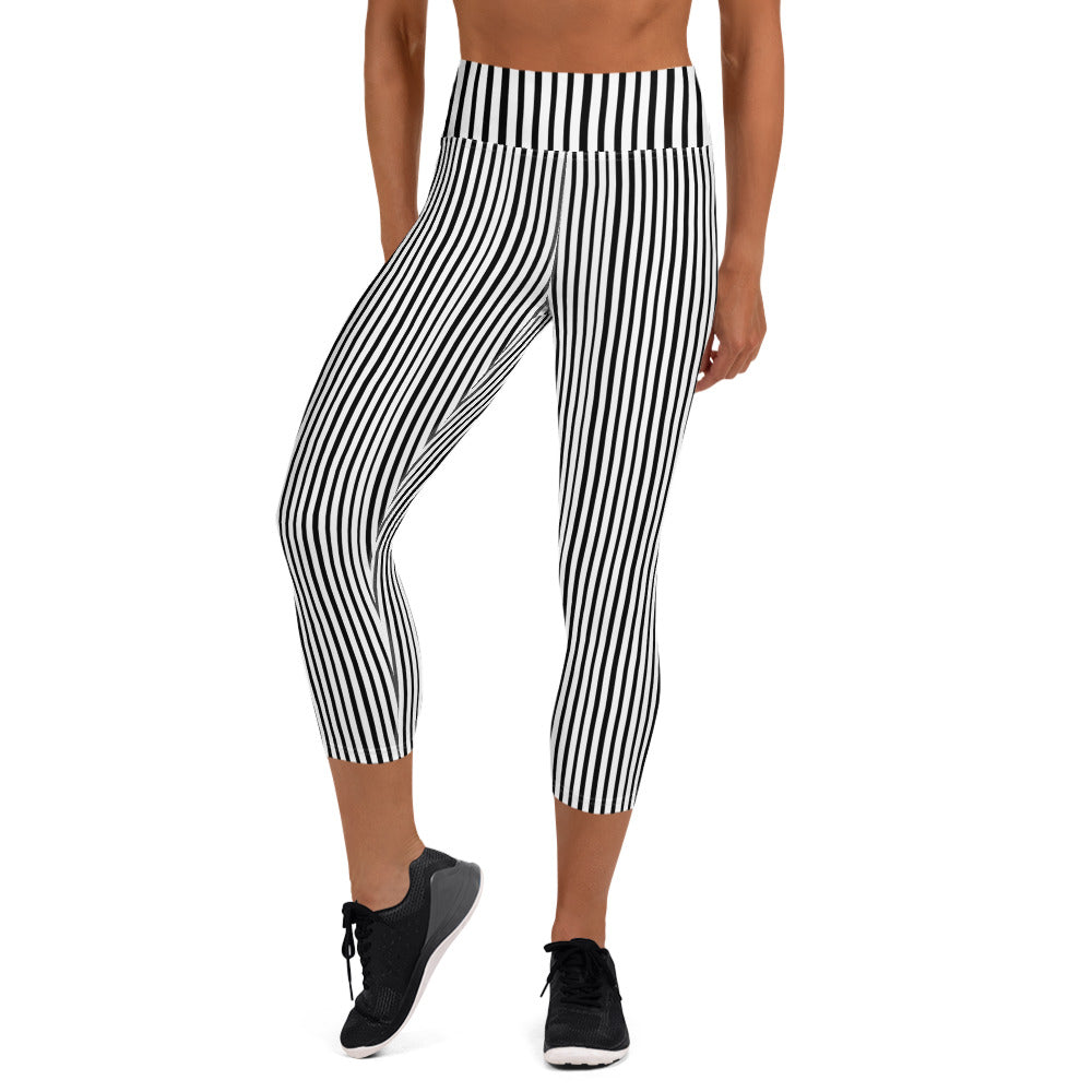 Black White Vertical Stripe Print Women's Yoga Capri Leggings Pants- Made in USA/EU-Capri Yoga Pants-XS-Heidi Kimura Art LLC