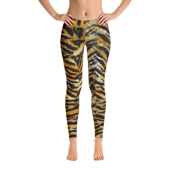 Tiger Striped Print Casual Leggings, Animal Print Women's Running Tights-Made in USA/EU-Casual Leggings-Heidi Kimura Art LLC Tiger Striped Print Casual Leggings, Bengal Tiger Striped Animal Print Designer Premium Quality Best Women's Long Casual Leggings/ Running Tights - Made in USA/EU (US Size: XS-XL)