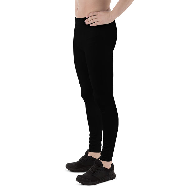 Classic Solid Black Color Premium Men's Leggings Tights Yoga Pants - Made in USA/EU-Men's Leggings-Heidi Kimura Art LLC