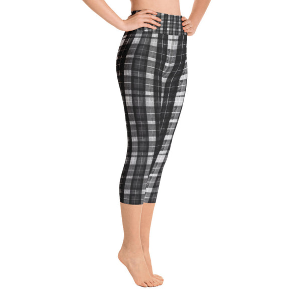 Black Plaid Women's Yoga Capri Pants Leggings Plus Size Available- Made In USA-Capri Yoga Pants-Heidi Kimura Art LLC