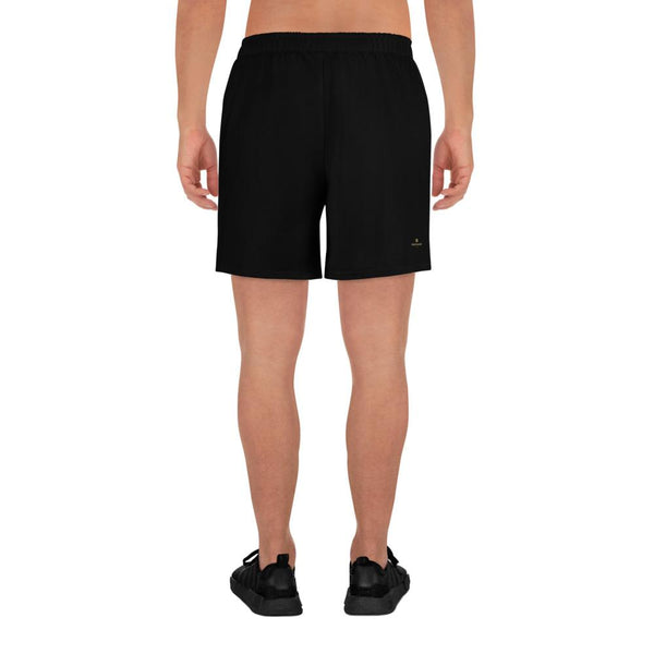 Black Solid Color Premium Men's Athletic Long Shorts- Made in Europe (US Size: XS-3XL)-Men's Long Shorts-Heidi Kimura Art LLC