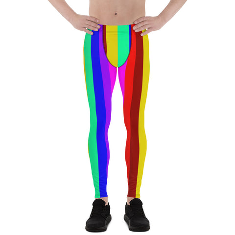 Kiki Honey Rainbow Stripes Men's Running Leggings & Run Tights Meggings Activewear- Made in USA/ Europe