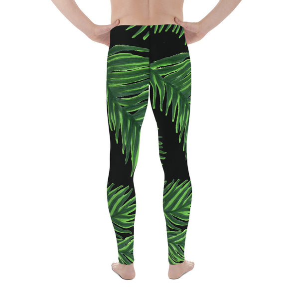 Green Tropical Leaf Meggings, Hawaiian Premium Black Men's Leggings-Made in USA/EU-Men's Leggings-Heidi Kimura Art LLC