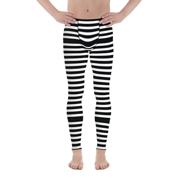 Black White Striped Men's Leggings, Modern Designer Meggings Compression Tights-Heidikimurart Limited -Heidi Kimura Art LLC