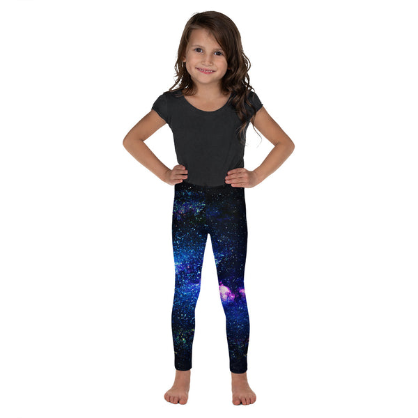 Galaxy Outer Space Print Premium Kid's Leggings Running Tights- Made in USA/ EU-Kid's Leggings-2T-Heidi Kimura Art LLC