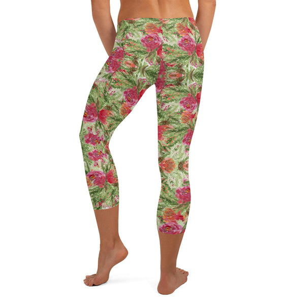 Red Floral Print Capri Leggings-Heidikimurart Limited -Heidi Kimura Art LLC