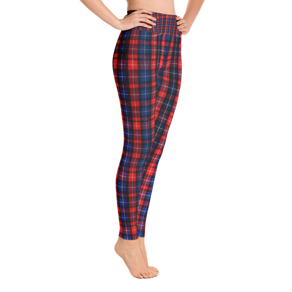 Women's Red Plaid Active Wear Fitted Leggings Sports Long Yoga Pants - Made in USA-Leggings-Heidi Kimura Art LLC Red Blue Plaid Women's Leggings, Women's Red Plaid Active Wear Fitted Leggings Sports Long Yoga & Barre Pants - Made in USA/EU (US Size: XS-XL)