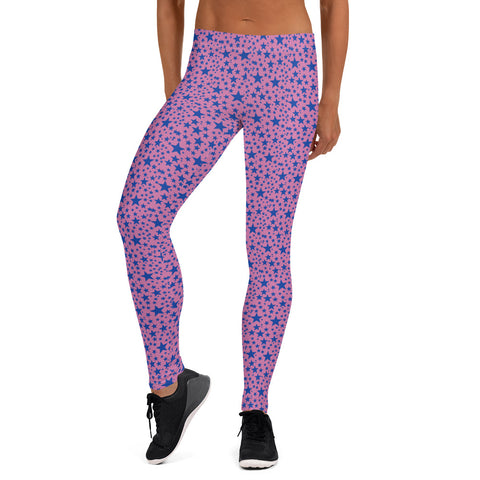 Pink Blue Star Print Pattern Designer Fashion Casual Leggings Workout Tights- Made in USA/EU-Casual Leggings-XS-Heidi Kimura Art LLC Pink Blue Star Tights, Pink Blue Star Pattern Print Designer Women's Long Fancy Dressy Fashion Casual Leggings/ Running Tights - Made in USA/EU (US Size: XS-XL)