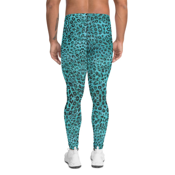 Light Blue Leopard Men's Leggings, Animal Print Meggings Compression Tights-Made in USA/EU-Heidikimurart Limited -Heidi Kimura Art LLC Light Blue Leopard Meggings, Leopard Print Men's Leggings, Animal Print Leopard Modern Meggings, Men's Leggings Tights Pants - Made in USA/EU (US Size: XS-3XL) Sexy Meggings Men's Workout Gym Tights Leggings