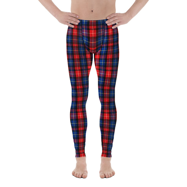 Classic Red Plaid Print Men's Running Leggings Tights Meggings Pants- Made in USA/EU-Men's Leggings-XS-Heidi Kimura Art LLC Red Plaid Meggings, Classic Red Plaid Print Men's Running Leggings Run Tights Meggings Pants, Compression Tights- Made in USA/EU (US Size: XS-3XL)