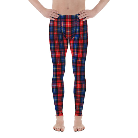 Haku Classic Red Plaid Print Men's Running Leggings Tights Meggings- Made in USA (XS-3XL)