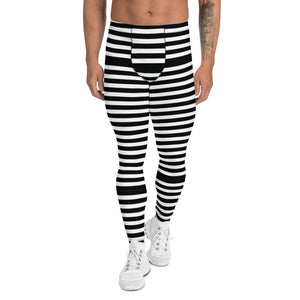Black White Striped Men's Leggings, Modern Designer Meggings Compression Tights-Heidikimurart Limited -XS-Heidi Kimura Art LLC