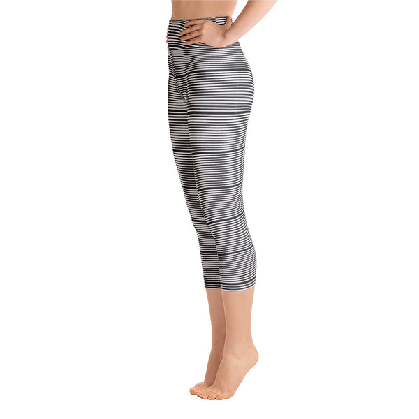 Black Striped Yoga Capri Leggings, Women's Horizontally Stripes Modern Capris Tights-Heidikimurart Limited -Heidi Kimura Art LLC