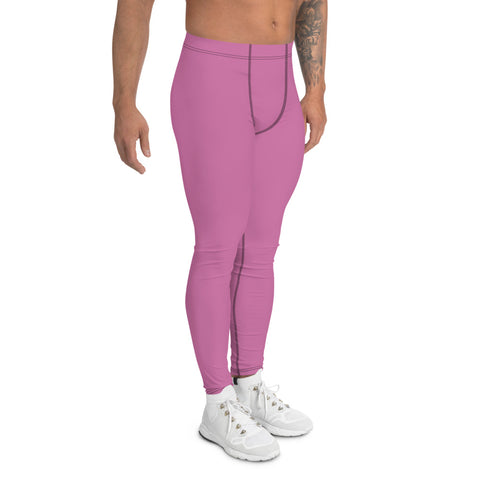 Baby Pink Men's Leggings, Solid Color Modern Meggings Compression Tights-Heidi Kimura Art LLC-Heidi Kimura Art LLC Baby Pink Men's Leggings, Solid Color Modern Meggings, Men's Leggings Tights Pants - Made in USA/EU (US Size: XS-3XL) Sexy Meggings Men's Workout Gym Tights Leggings