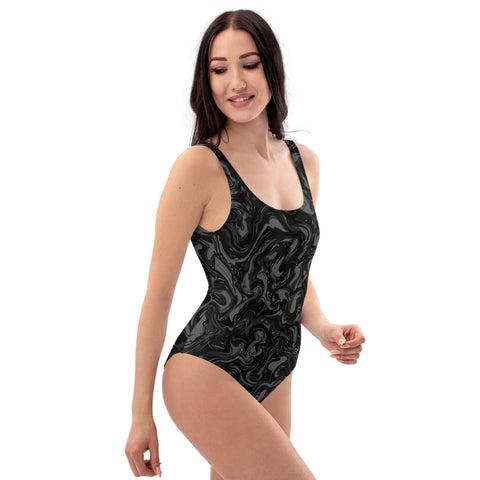 Black Marble Print Swimwear, Luxury 1-Piece Women's Swimwear Bathing Suits, Beach Wear For Ladies - Made in USA/EU (US Size: XS-3XL) Plus Size Available Black Marble Print Women's Swimwear, Best One-Piece Swimsuit-Made in USA/EU-Heidi Kimura Art LLC-Heidi Kimura Art LLC