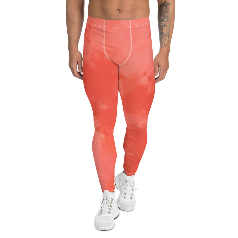 Peach Coral Pink Meggings, Abstract Print Men's Leggings-Heidikimurart Limited -XS-Heidi Kimura Art LLC Peach Coral Pink Meggings, Abstract Print Classic Premium Best Meggings Compression Tights Sexy Meggings Men's Workout Gym Tights Leggings, Men's Compression Tights Pants - Made in USA/ EU/ MX (US Size: XS-3XL)