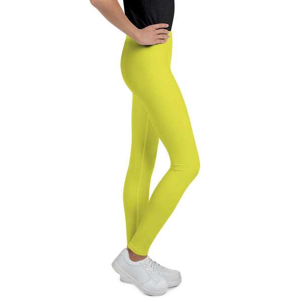 Bright Yellow Solid Color Best Youth Leggings Gym Compression Tights- Made in USA/EU-Youth's Leggings-Heidi Kimura Art LLC
