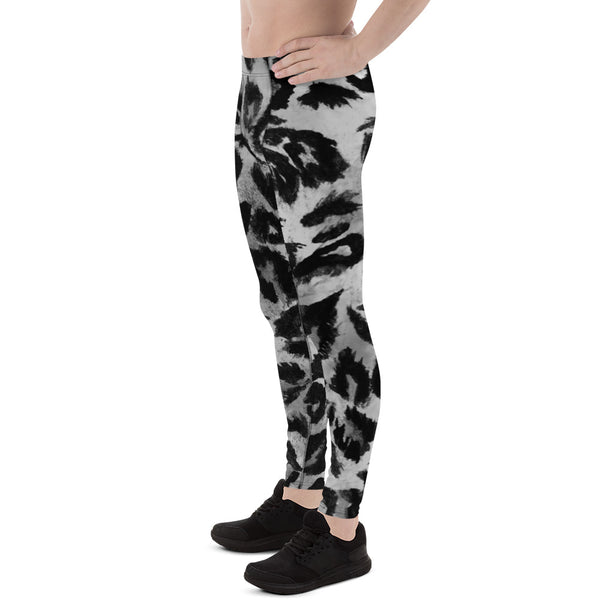 Gray Leopard Print Men's Leggings, Yoga Pants Running Leggings Fetish Tights- Made in USA-Men's Leggings-Heidi Kimura Art LLC
