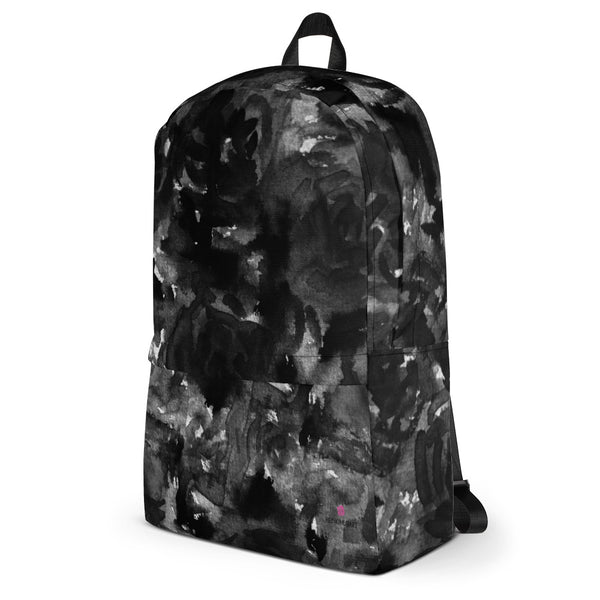 "Gray Black Abstract Rose Floral Abstract Print (Fits 15"" Laptop)Backpack-Made in USA/EU-Backpack-Heidi Kimura Art LLC"