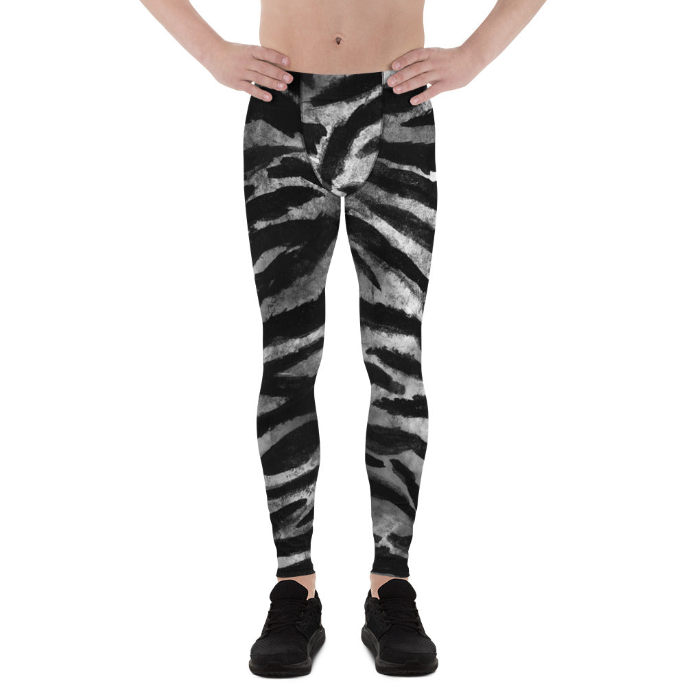 Black Tiger Stripe Print Meggings, Men's Yoga Pants Running Leggings- Made in USA/EU-Men's Leggings-XS-Heidi Kimura Art LLC