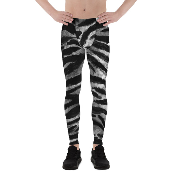 Black Grey Tiger Stripe Men's Yoga Pants Running Leggings & Tights- Made in USA/ Europe (US Size: XS-3XL) - Heidi Kimura Art LLC
