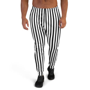 Black White Striped Men's Joggers, Modern Casual Stripe Print Sweatpants- Made in EU-Men's Joggers-XS-Heidi Kimura Art LLC