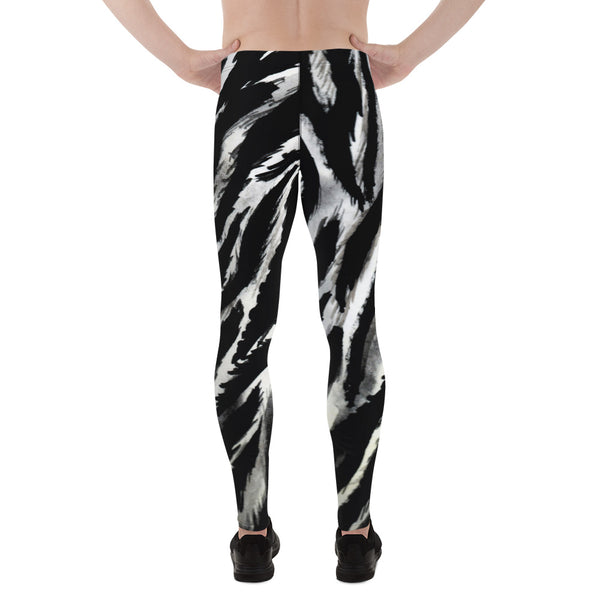Gray Zebra Stripe Black White Animal Print Men's Leggings Tights Pants-Made in USA/EU-Men's Leggings-Heidi Kimura Art LLC  Zebra Stripe Men's Leggings, Gray Zebra Stripe Black White Animal Print Men's Leggings Tights Pants - Made in USA/ Europe (US Size: XS-3XL) Made to Order Sexy Meggings Men's Workout Gym Tights Leggings