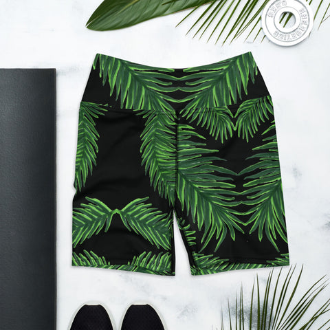 Tropical Leaf Print Yoga Shorts, Women's Elastic Short Tights-Made in USA/EU-Heidi Kimura Art LLC-Heidi Kimura Art LLC Green Palm Leaf Yoga Shorts, Tropical Leaves Print Premium Quality Women's High Waist Spandex Fitness Workout Yoga Shorts, Yoga Tights, Fashion Gym Quick Drying Short Pants With Pockets - Made in USA/EU (US Size: XS-XL)