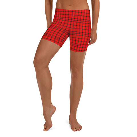 Red Plaid Print Shorts, Scottish Tartan Print Women's Shorts-Made in USA/EU-Heidi Kimura Art LLC-Heidi Kimura Art LLC Red Plaid Print Shorts, Classic Best Scottish Tartan Print Premium Quality Women's High Waist Spandex Fitness Workout Yoga Shorts, Yoga Tights, Fashion Gym Quick Drying Short Pants With Pockets - Made in USA/EU (US Size: XS-XL)