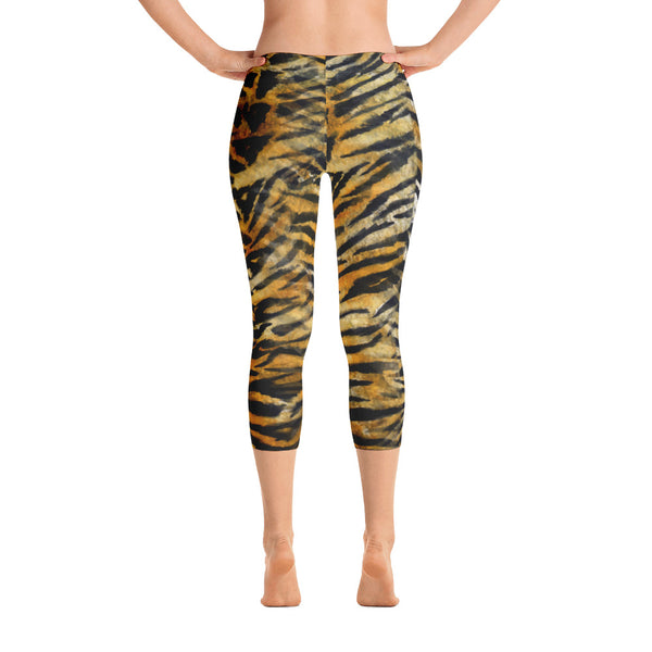 Tiger Striped Women's Capri Leggings, Orange Animal Print Capris Leggings-Made in USA/EU-capri leggings-XS-Heidi Kimura Art LLC Tiger Striped Women's Capri Leggings, Bengal Tiger Stripe Animal Print Capri Leggings Casual Fashionable Athletic Tights Ladies Outfit - Made in USA/EU (US Size: XS-XL)