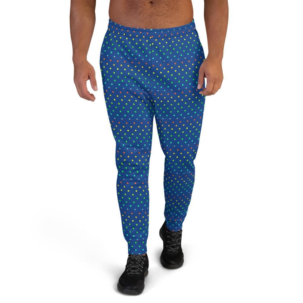 Cobalt Blue Rainbow Polka Dots Print Designer Men's Joggers-Made in EU-Men's Joggers-XS-Heidi Kimura Art LLC