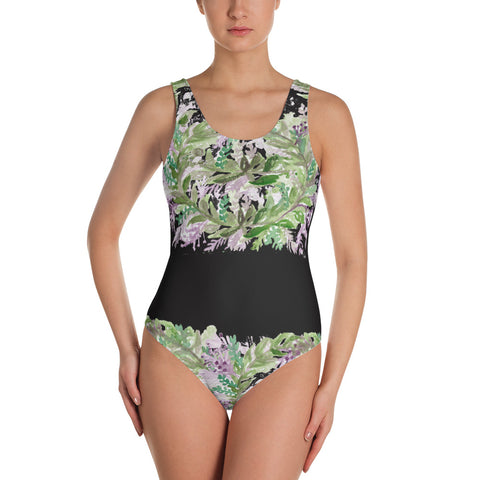 Bright French Lavender Floral Print One-Piece Designer Swimsuit - Made in USA-One-piece swimwear-XS-Heidi Kimura Art LLC