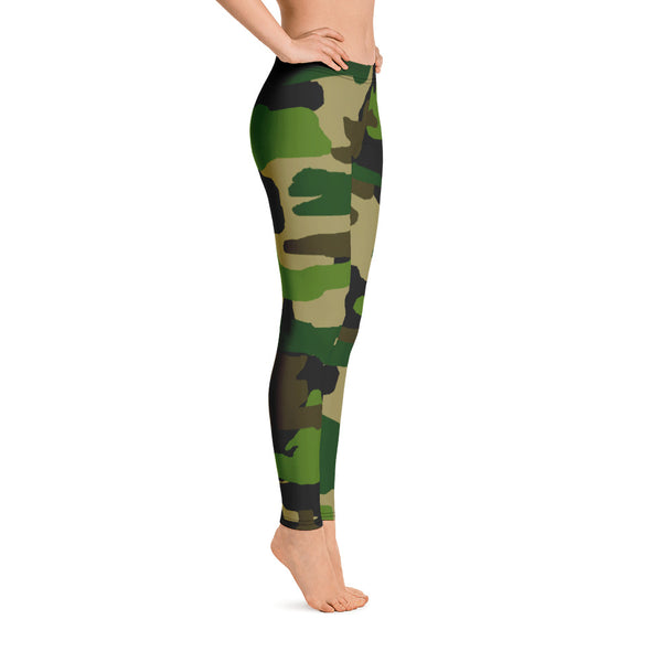 Green Military Camouflage Print Women's Long Casual Leggings/ Running Tights -Made in USA-Casual Leggings-Heidi Kimura Art LLC Green Camo Tights, Green Camo Military Camouflage Print Women's Long Casual Leggings/ Running Tights - Made in USA/EU (US Size XS-XL)
