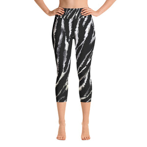 Zebra Animal Stripe Print Women's Yoga Capri Leggings- Made in USA (XS-XL)-Capri Yoga Pants-XS-Heidi Kimura Art LLC