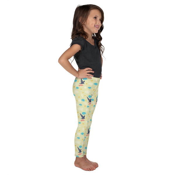 Cute Bird Print Premium Kid's Leggings Running Sports Fitness Tights- Made in USA-Kid's Leggings-Heidi Kimura Art LLC