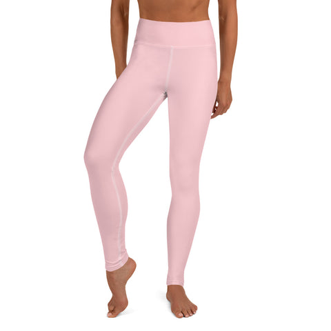 Light Ballet Pink Pastel Soft Solid Color Women's Yoga Pants Leggings- Made in USA/ EU-Leggings-XS-Heidi Kimura Art LLC