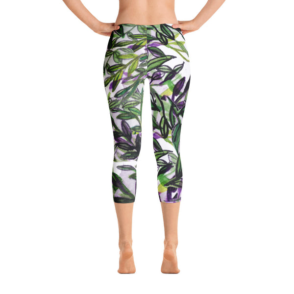 Green Tropical Leaves Capri Leggings Casual Activewear For Women - Made in USA-capri leggings-XS-Heidi Kimura Art LLC