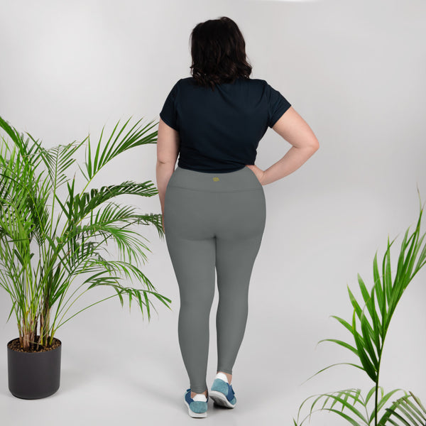 Solid Gray Color Women's Plus Size Leggings Yoga Pants, Plus Size Tights -Made in USA-Women's Plus Size Leggings-Heidi Kimura Art LLC
